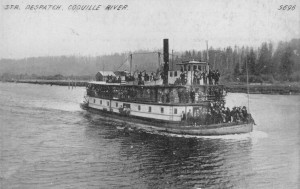 Steamer dispatch on the Coquille River, Oregon circa 1910.