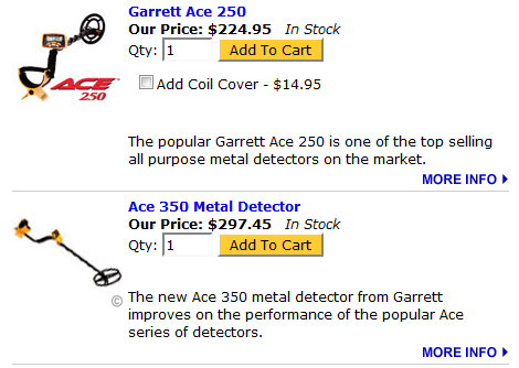 Garret Ace 250 / 350 Metal Detector